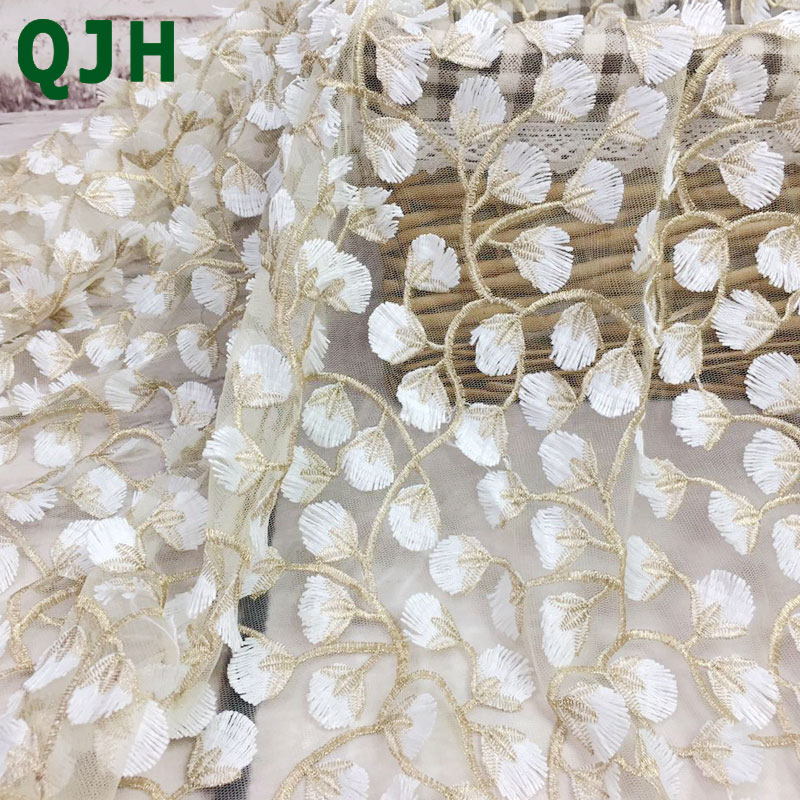 5y Exquisite Gold thread 3D embroidery lace fabrics,High quality 