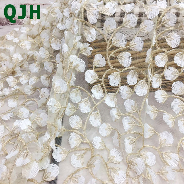 5y Exquisite Gold thread 3D embroidery lace fabrics,High quality white mesh Openwork wedding Accessories Dress embroidered cloth
