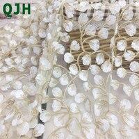 5y Vàng Tinh Tế chủ đề 3D thêu các loại vải ren, Chất Lượng Cao màu trắng lưới Openwork wedding Dress Phụ Kiện vải thêu
