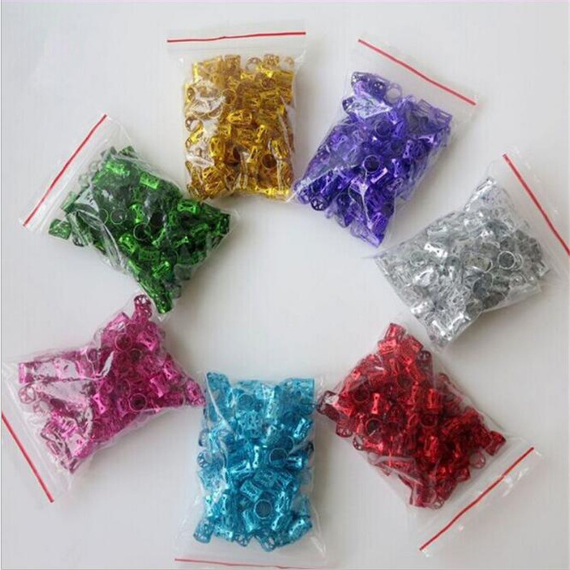 50Pcs/lot Mixed Color Hair Braid Bead Micro Rings Link Adjustable Hair Braids Cuff Clip 8mm Hole African Dyed Hairpin Wigs