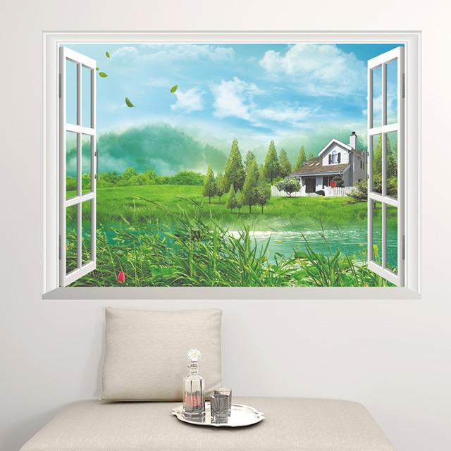 New fashion 3d falsi adesivi murali finestra paesaggio pastorale ...