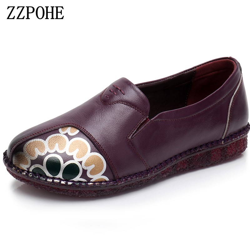 ZZPOHE Women soft Leather Flat Shoes Decals Fashion Casual Comfortable Ladies Shoes Slip on Pregnant Women Shoes