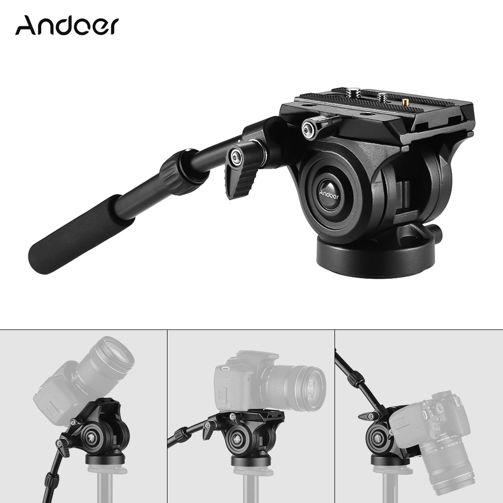Andoer VH05 Camera Camcorder Tripod Head Fluid Drag Head with Quick Release Plate Aluminum Alloy for