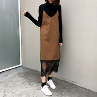 2017 New Autumn Women Long dress Patchwork Lace Spaghetti Strap V-Neck Hem Firm Offers Dresses Khaki Black 3079