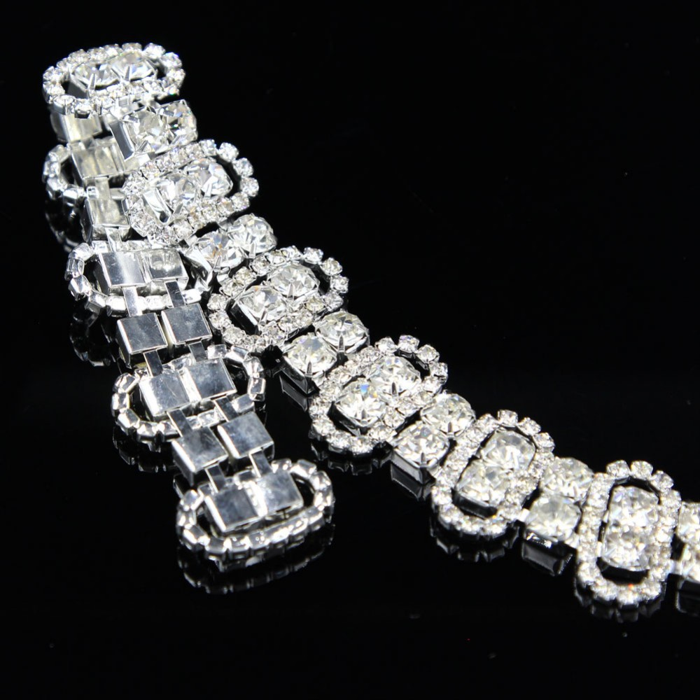 10Yards 2cm Hot Sale Charming Sliver Bling Clear Rhinestone Costume Chain Applique Trim in Rhinestones from Home Garden