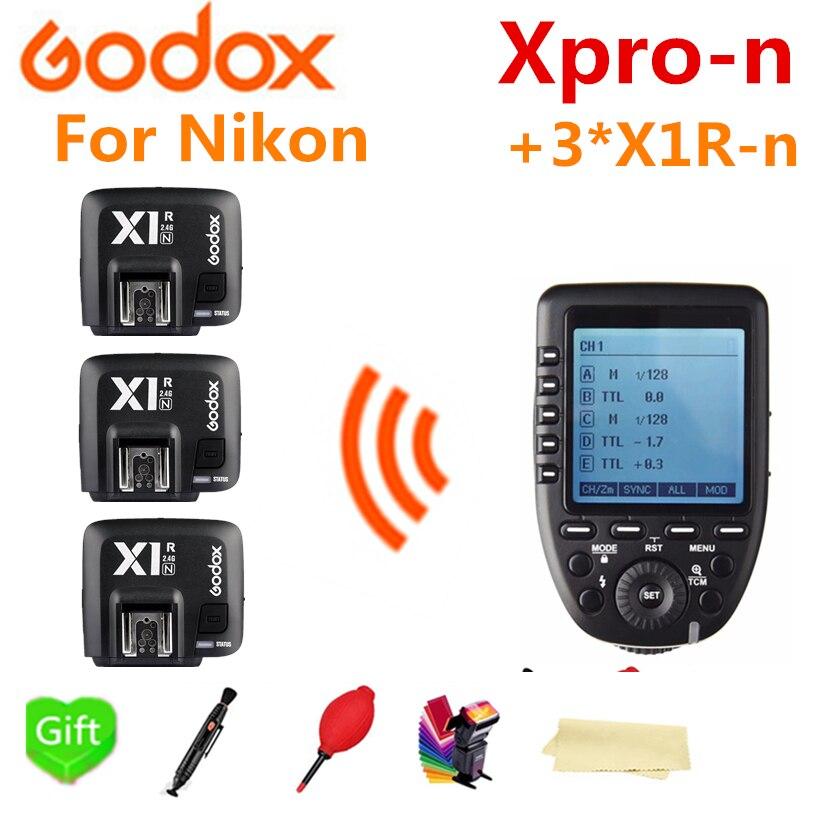 Godox xpro-n transmetteur de déclenchement sans fil TTL HSS pour Nikon + 3 * X1R-N pour Godox V860IIN TT685N TT350N TT600 SK400II AD600Pro