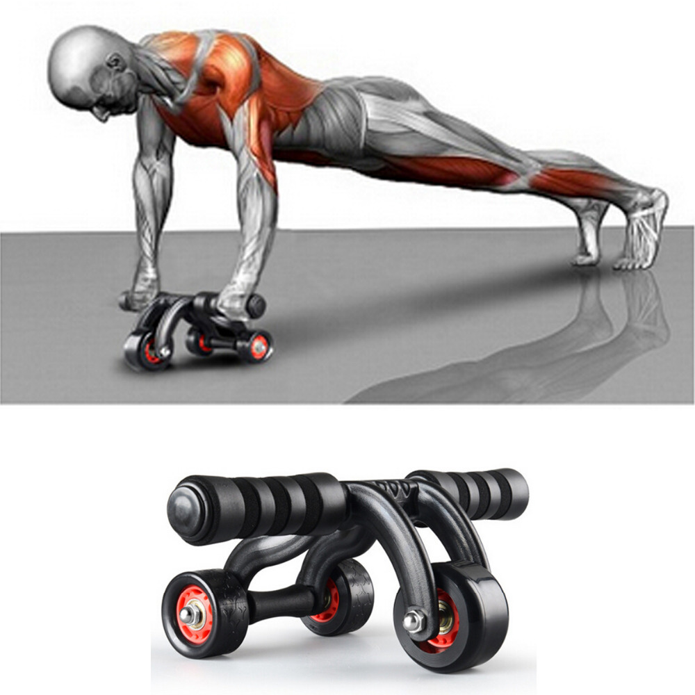 Creative 3 Wheel Abdominal Exercise Sport Workout Machine With Knee Pad New