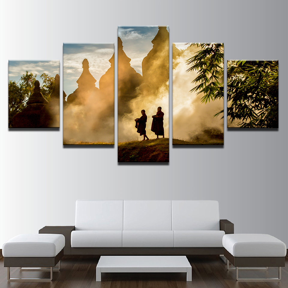 Canvas HD Prints Poster Wall Art Framework 5 Pieces Monks Mountain With  Temples Paintings Contemplative Life Pictures Home Decor|wall art|hd  prints5 pieces - AliExpress
