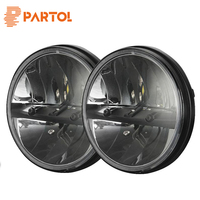 2PCS Set 7 Round Hi Low Beam Round LED Headlights For Jeep Wrangler JK LJ TJ