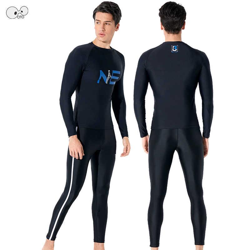 2019 Baru Lengan Panjang Hitam Ruam Penjaga Pria UPF50 + K Berlaku Baju Renang Surfing Menyelam Baju Renang Pria Pakaian Renang Set Celana kemeja