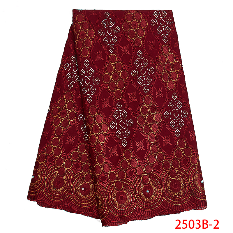 2019 Swiss Voile Laces Fabrics High Quality African Lace Fabric French Embroidered Cotton With Stones For Dresses KS2503B-2