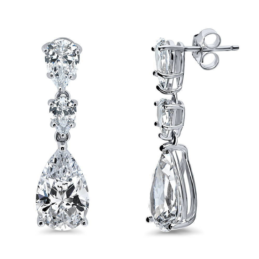 Berricle Silver-colored Plated Sterling Silver Pear Cut Cubic Zirconia Cz 3-stone Graduated Dangle Earrings #e1326-01 gold plated stone asymmetry dangle earrings