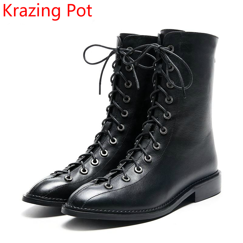 цены на 2018 Superstar Genuine Leather Fashion Winter Shoes Classic Lace Up Thick Heel Motorcycle Boots Casual Women Mid-Calf Boots L83 в интернет-магазинах