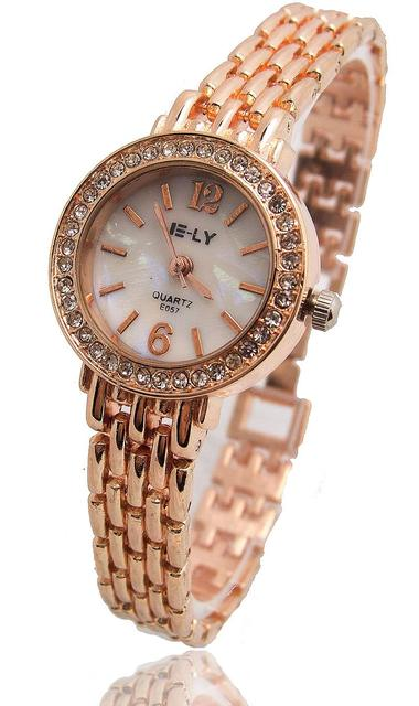 Fashion Rose Gold Bracelet Watch Women Ladies Crystal Dress Quartz Wrist Watch R