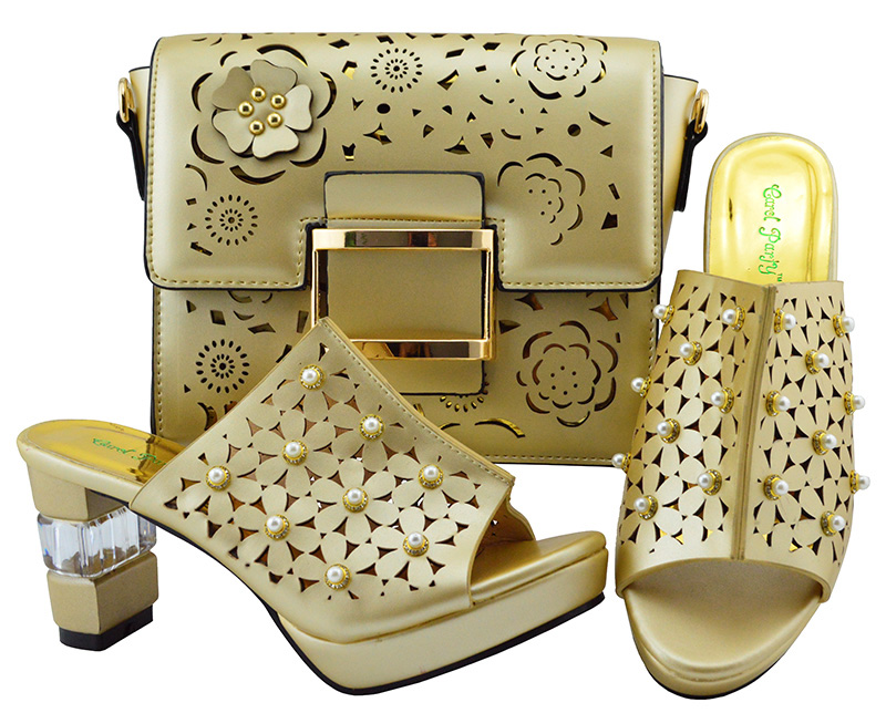 Ladies Italian Leather Shoes and Bag Set Gold Italian Shoes with Matching Bags High Quality African Shoe and Bag Set for YM007 new design african woman shoes and bag sets free shipping fashion italian matching shoe and bag set high quality 1703v0322d30
