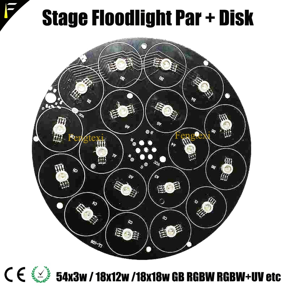 1 Set LED 54*3w LED Beads With Aluminum Plate Disk Part Kit 18x12w 18x15w 18x18w RGB 3in1 RGBW 4in1 RGBWA 5in1 RGBWA+UV 6in1
