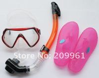 high quality combination diving mask full dry snorkel Breathing tube driving beach shoes Under Water Swiming free shipping