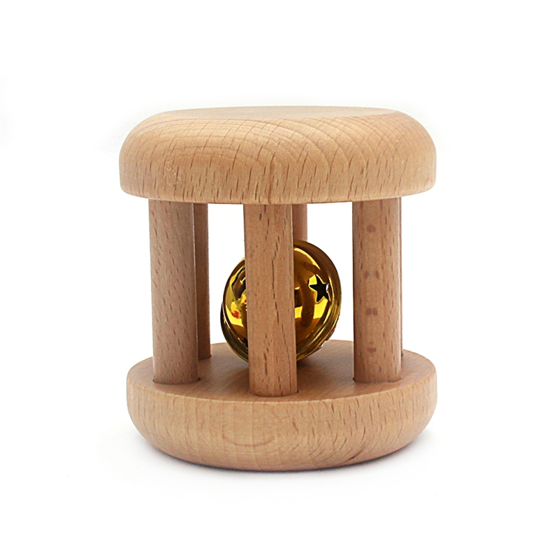 Montessori Baby Toys Wood Golden Rattles Wooden Cage Bell/Rattle Educational Toy For Toddler Infant Beech Wood Practice Training