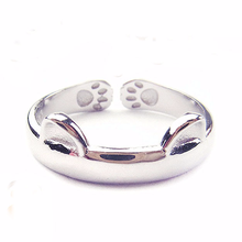 Silver 925 ring gold 925 sterling silver cute cat footprints adjustable adjustable rings Men's Accessories Ring Rose gold JZ219 thailand imports 925 silver gold virgin silver ring