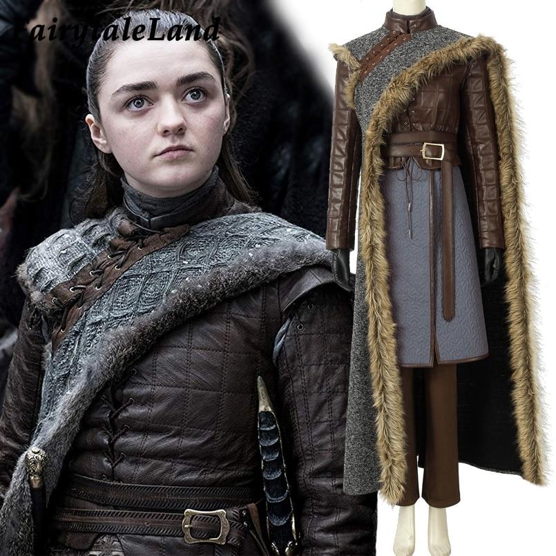 Game of Thrones Season 8 Cosplay Costume Arya Stark cosplay Outfit Full set suit Custom made