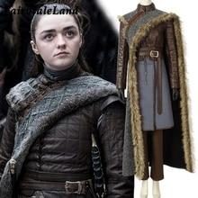Game Of Thrones Seizoen 8 Cosplay Kostuum Arya Stark cosplay Outfit Volledige set pak Custom made Halloween kostuum