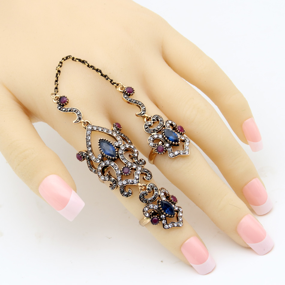 SUNSPICE MS Vintage Turkey Women Flower Double Link Ring Set - Perhiasan fesyen - Foto 2
