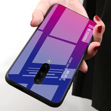 купить Gradient Color Glass Phone Case For Oneplus 7 Pro 6 6T Protective Cover Coque TPU Silicone Bumper For Oneplus 7 Shockproof Case дешево