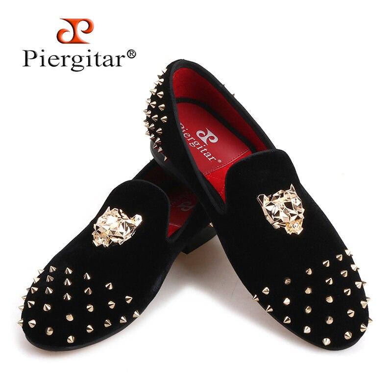 Piergitar/2019 Мужская бархатная обувь с золотыми альпинистская кошка и шипы для вечеринки и свадьбы, мужские лоферы, модная брендовая мужская пов
