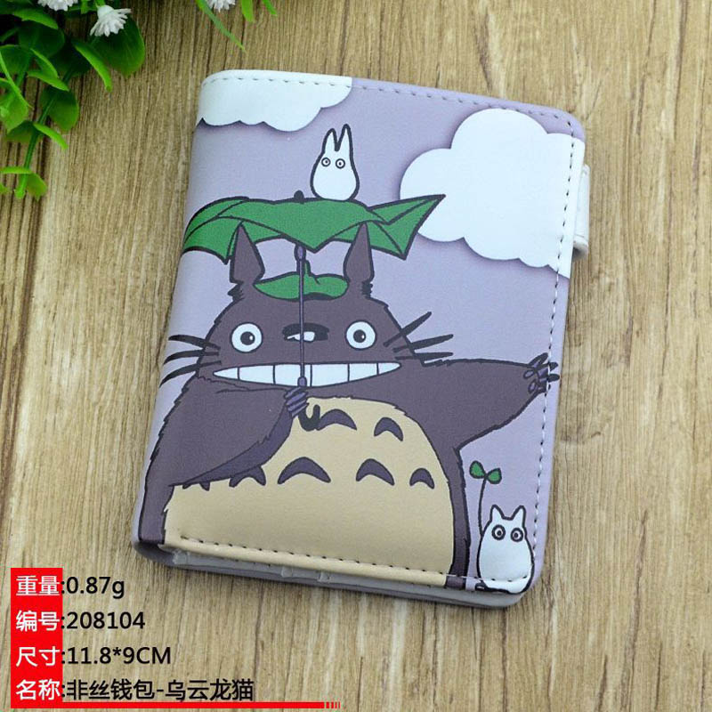 Colorful Anime PU Short High Quality PU Purse Button Wallet Printed with Tonari no Totoro suicide squad harley quinn harleen quinzel high quality pu short wallet purse with button