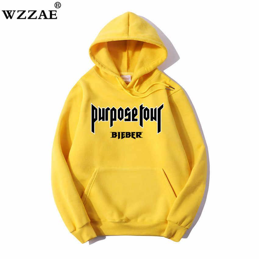 WZZAE 2018 Bieber Stadium Purpose Tour Fleece Yellow Hoodies