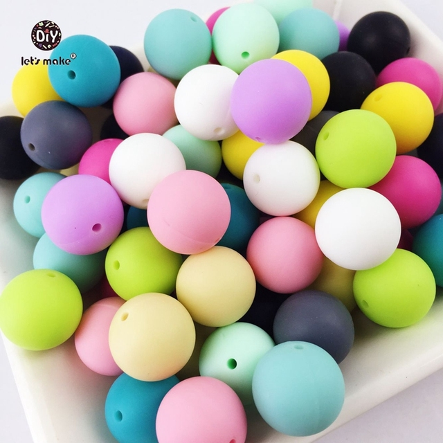 Let's Make 12mm Silicone Beads 500pc Round Loose Teething Chew Jewelry Colorful Balls Sensory Kids Jewelry Necklace Chew Beads