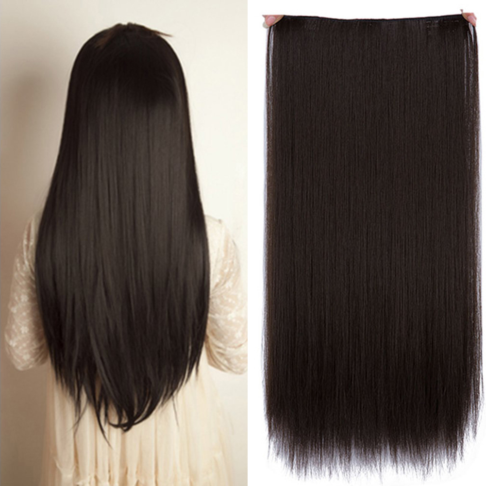 JINKAILI Long Straight Women Clip in Hair Extensions Black Brown High Tempreture Synthetic Hairpiece ...