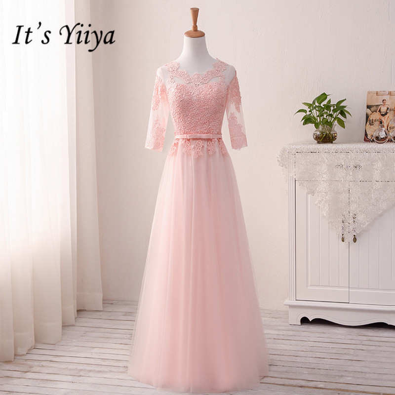 It's YiiYa Pink Floor-length Lace Mesh   Bridesmaid     Dresses   Elegant Many Styles Slim A-line Frocks B010