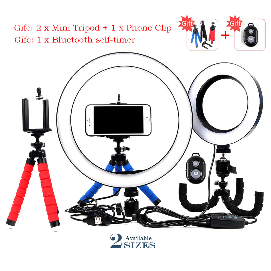 Photography LED <font><b>16</b></font>/26cm Selfie <font><b>Ring</b></font> <font><b>Light</b></font> Dimmable Camera Phone <font><b>Ring</b></font> Lamp With Table Mini Tripods For Makeup Video Live Studio image