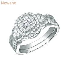 Newshe 2019 새로운 도착 2 Pcs 여성을위한 925 스털링 실버 결혼 반지 약혼 반지 신부 세트 클래식 쥬얼리