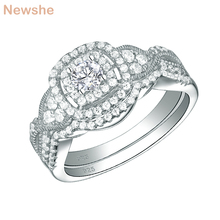 Newshe 2019 New Arrival 2 Pcs 925 Sterling Silver Wedding Rings For Women Engagement Ring Bridal Set Classic Jewelry