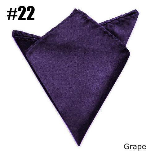 Solid Color Handkerchief Mens Satin Pocket Square To Match Suits Grape