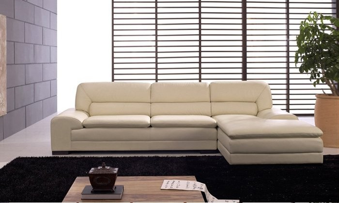 Free Shipping French Furniture Sofa Made With Top Grain Leather L Shaped Corner Sectional Set Ottoman Chaise Lounge