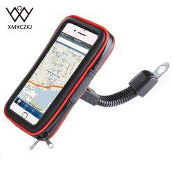 XMXCZKJ Motocykl Uchwyt na telefon komórkowy Wsparcie Moto Stojak rowerowy na smartfon Rower Wodoszczelna torba Etui na telefon komórkowy Uchwyt GPS