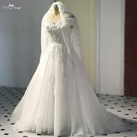 RSW500 A Line Floral Top Sleeveless Off Shoulder Wedding Dress With Free Veil
