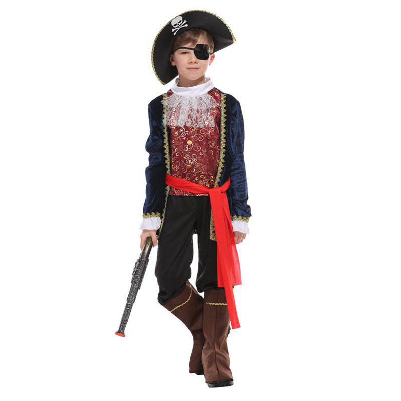 Umorden Halloween Costumes for Boys Pirate Captain Costume One Eye Deluxe Pirate Cosplay Set for Boy Kids Party Dress Up