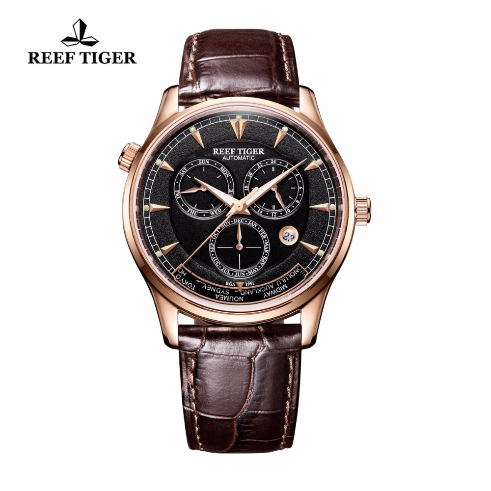 Reef Tiger/RT Designer Casual Watches for Men World Time Date Rose Gold Automatic Watch RGA1951 rover time rt 255