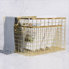 Metal Rose Gold Storage Basket Vogue Chic Nordic Hand-made Iron Net Table Shelves Bath Clothes Cosmetics