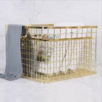 Metal Rose Gold Storage Basket Vogue Chic Nordic Hand made Iron Net Table Shelves Basket Bath Clothes Cosmetics Storage Basket