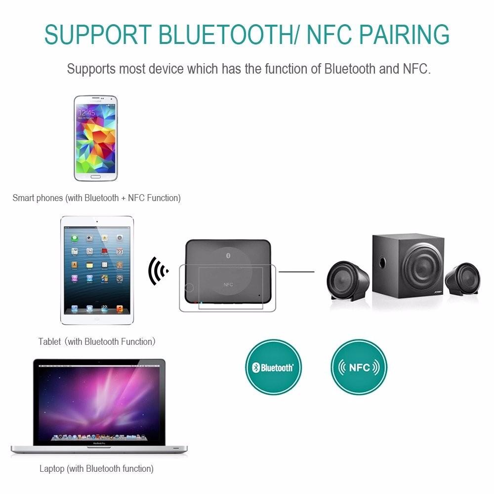 NFC Bluetooth Wireless Desktop Stereo Audio Music Receiver DVD Player Car Speaker USB Adapter  (10)