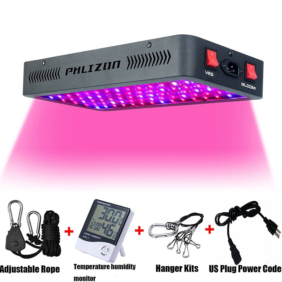 Phlizon Newest 1200W LED Plant Grow Light with Thermometer Humidity Monitor&Adjustable Rope,Double Switch plant light indoor led