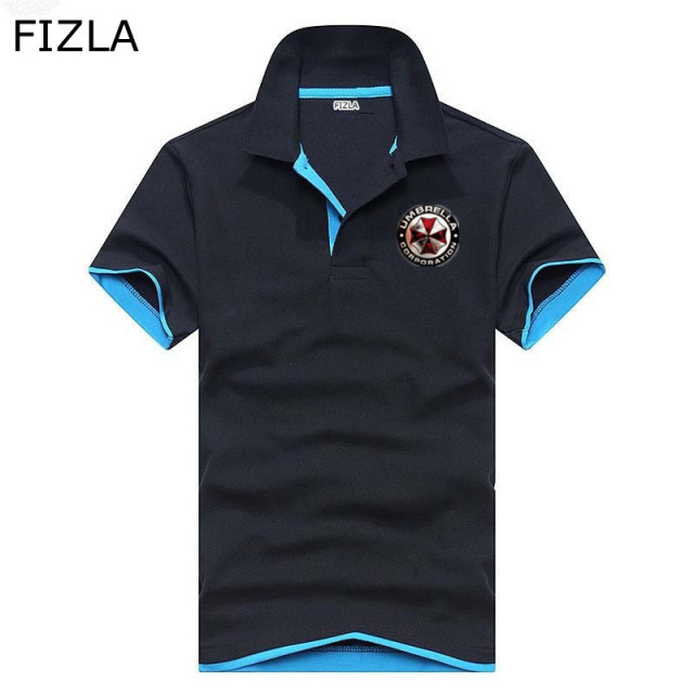 Hot Sale New Fashion Brand Men Polo shirt Print UMBRELLA Resident Evil Slim Fit Shirt Men Cotton polo Shirts Casual Shirts