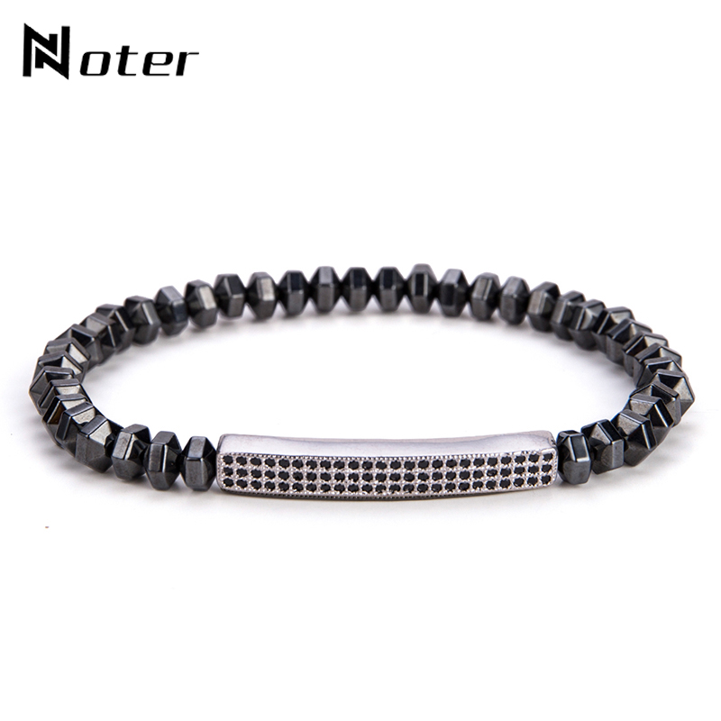 Noter Punk Gun Black Hematite Mens Bracelets Luxury CZ Paved Handmade Braslet For Male Biker Hand Jewelry Accessories