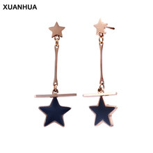 XUANHUA stud earrings jewellery stainless steel earrings earing women nausnice black star errings gifts for women drop bizuteria(China)