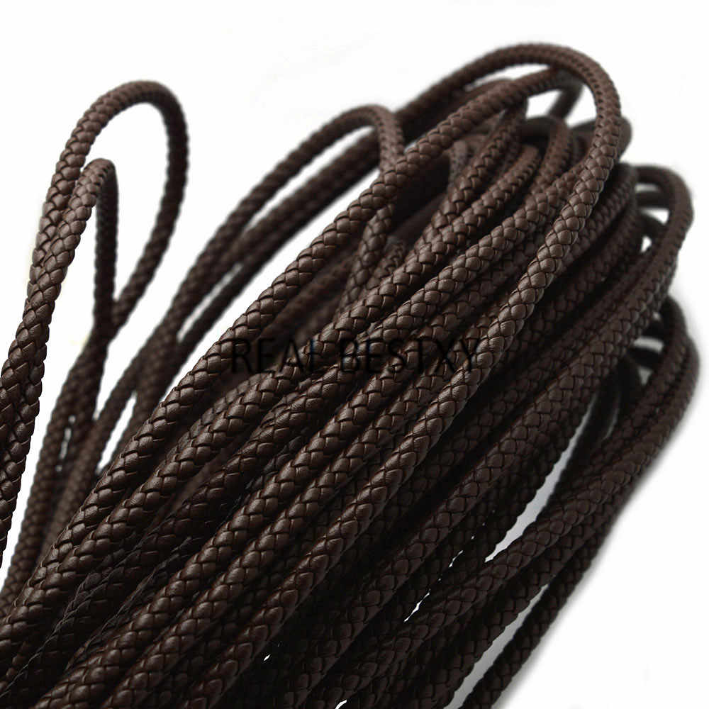 REAL BESTXY 1m/lot 5mm brown round Braided Leather Rope String Cord For Bracelets DIY Jewelry Making Craft Accessories leather